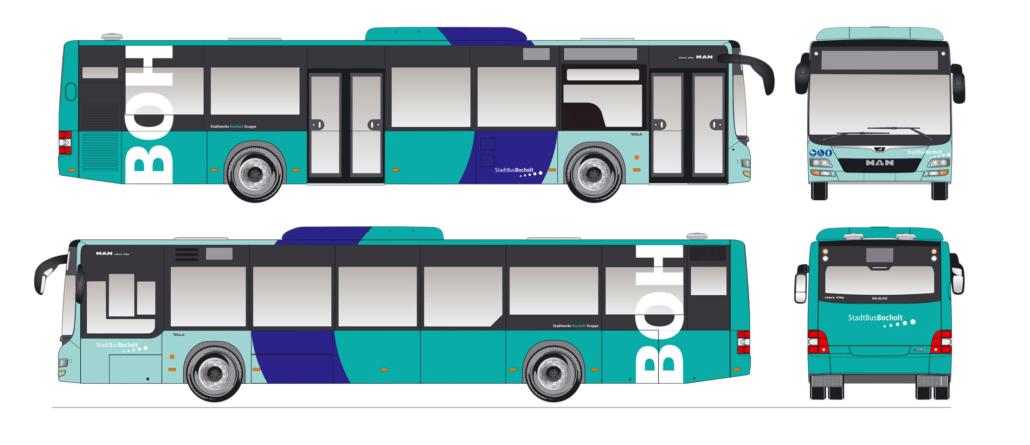 Layout des StadtBus-Designs auf Maßzeichnung